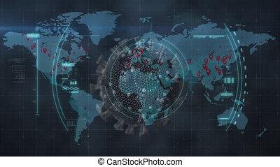 covid-19, macro, animation, mondiale, sur, cellule, ...