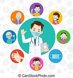 covid-19., medico, protettivo, dottore, famiglia, il portare...