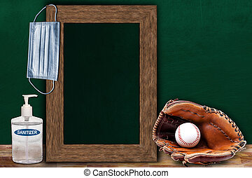 COVID-19 New Normal Baseball Sports Concept With Frame Chalkboard and Copy Space