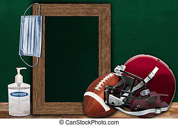 COVID-19 New Normal Football Sport Concept With Frame Chalkboard and Copy Space