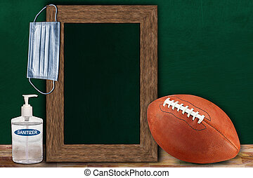 COVID-19 New Normal Football Sports Concept With Frame Chalkboard and Copy Space