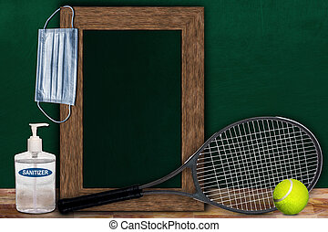 COVID-19 New Normal Tennis Sport Concept With Frame Chalkboard and Copy Space
