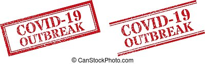 COVID-19 OUTBREAK Grunge Scratched Stamp Watermarks with Double Rectangle Frame