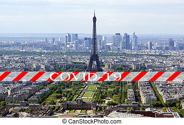 covid-19, paris, concept, europe, skyline), voyage, covid, coronavirus, france., pandémie, sur, (city, signe, paris.