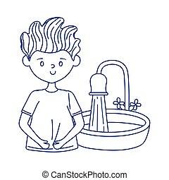 covid 19 quarantine, boy with bathroom sink isolated design
