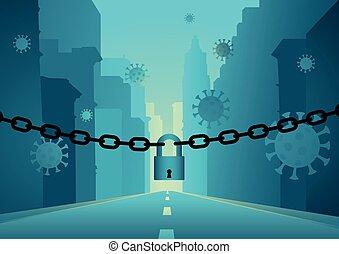 covid-19, rue, lockdown, virus, éruption, because, vide, ville