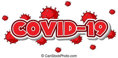 Covid 19 sign template in red color illustration