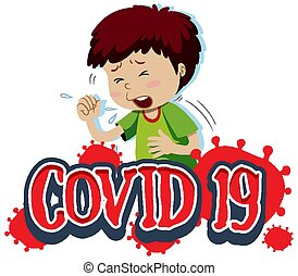 Covid 19 sign template with boy coughing