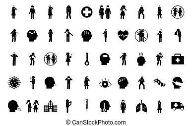silhouette style icon set design of Covid 19 2019 ncov cov virus coronavirus infection corona epidemic disease symptoms and medical theme Vector illustration