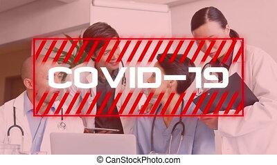 covid-19, texte, hôpital, équipe, médecins, discuter, contre