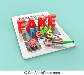 Covid-19 vaccination and fake news in online internet media news on touch tablet PC 3D render