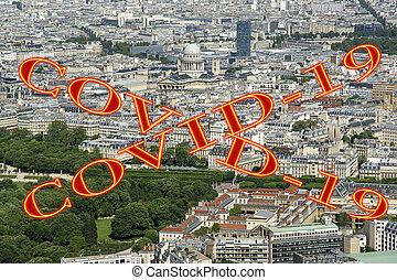 covid-19, ville, daytime., paris, concept, signe., voyage, covid, france., horizon, europe., coronavirus, pandémie