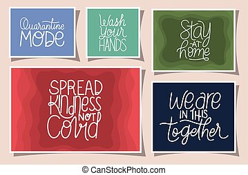 lettering frames set design of Happiness positivity and covid 19 virus theme Vector illustration