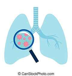 Covid 19 virus with lupe on lungs vector design