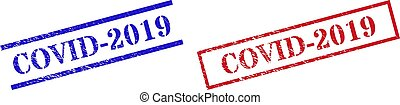 COVID-2019 Grunge Scratched Stamp Seals with Rectangle Frame