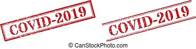 COVID-2019 Textured Scratched Stamp Watermarks with Double Rectangle Frame