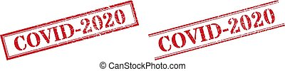 COVID-2020 Grunge Rubber Stamp Seals with Double Rectangle Frame