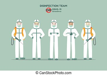 covid-21 - Disinfection team, medical staff preventing ...
