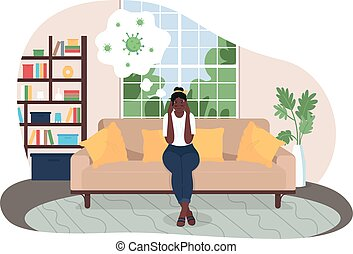 Covid anxiety 2D vector web banner, poster. Woman at home worry about virus. Stressed female flat character on cartoon background. Pandemic uncertainty printable patch, colorful web element . If you are interested in custom design or want to make some adjustments to purchase the product, don't ...