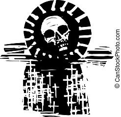 Woodcut expressionist style image of a graveyard of christian crosses with a rising covid virus sun.