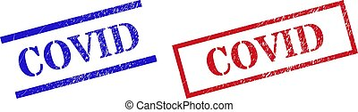 COVID Grunge Scratched Stamp Watermarks with Rectangle Frame