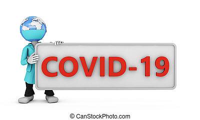 covid, homme, 19, globe