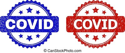 Rosette COVID stamps. Flat vector scratched seal stamps with COVID message inside rosette shape with stars, in blue and red color variants. Rubber imitations with corroded surface.