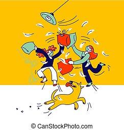 covid19., jouer, combat, peu, gens, vilain, monde médical, hyperactive, caractères, enfants, désordre, linéaire, illustration, rester maison, masques, pillows., filles, gosses, quarantaine, baston, confection, vecteur