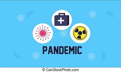 covid19 pandemic set icons animation