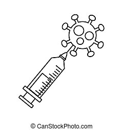 covid19 particle and syringe line style icon vector ...