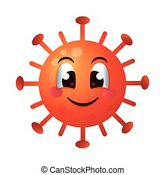 covid19 particle happy emoticon character vector ...