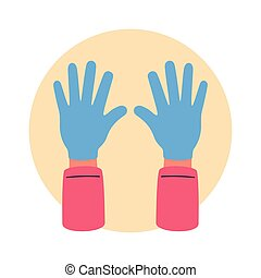covid19 prevention, use rubber gloves vector illustration design