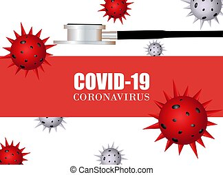 covid19 white4 - Stethoscope and coronavirus vector ...