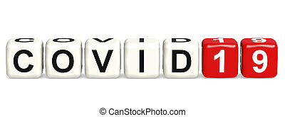 Covid19  word concept on cube block isolated