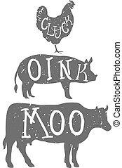 cow., 農場, anilmals, silhouette., 鶏, 豚