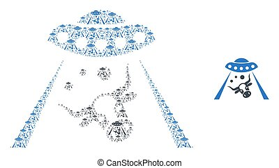 Vector cow abduction collage is designed with scattered self cow abduction elements. Recursion collage of cow abduction.