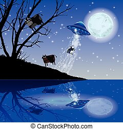 Cow Abduction UFO night moon. Illustration