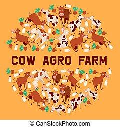 Cow agro farm banner vector illustration. Smiling cartoon ...