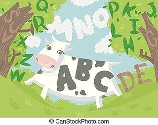 Cow Alphabet Illustration