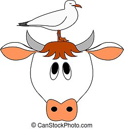 Cow and bird, illustration, vector on white background.