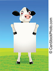 cow and blank sign - Cow cartoon and blank sign