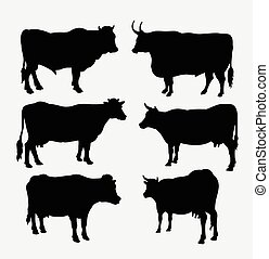 Cow and bull animal silhouette