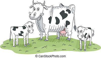 Cow and Calves