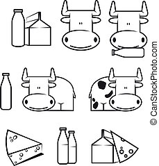 Cow and dairy food - Set of cow and dairy food for design