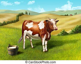 Cow and milk bucket in a rural landscape. Original digital illustration.