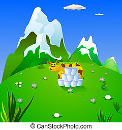 cow and milk on a mountain meadow.