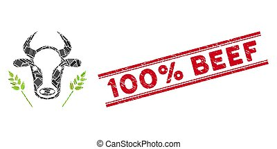 Cow and Wheat Agriculture Mosaic and Grunge 100% Beef Stamp Seal with Lines