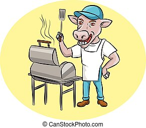 Illustration of a cow barbecue chef holding a spatula wearing hat and apron with grill or smoker set inside oval shape set inside oval shape done in cartoon style