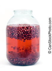 Cow--berry with water to a glass jar