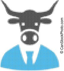 Cow Boss Halftone Dotted Icon